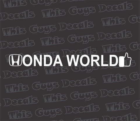 "honda world ""no globe"" decal"