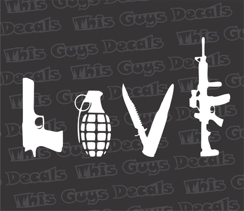 LOVE gun decal