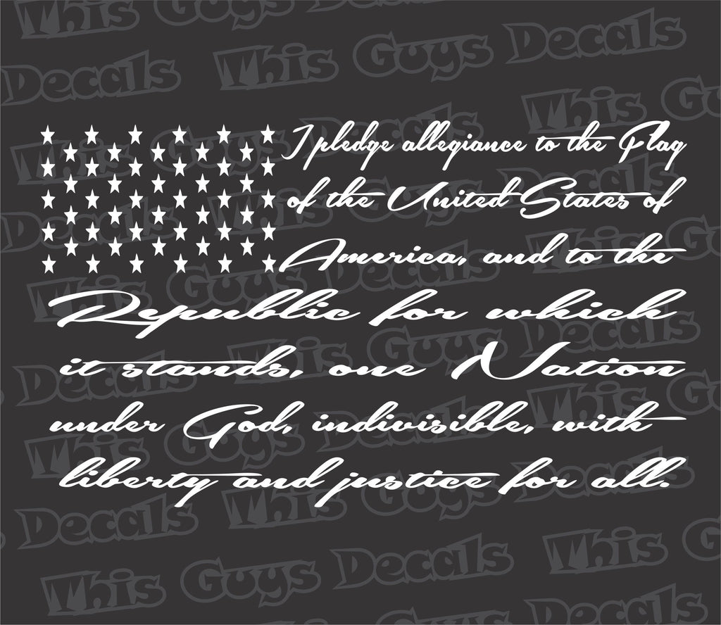 the pledge of allegiance flag decal
