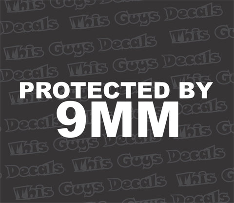 protected by 9mm gun decal
