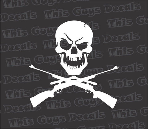 skull with rifles gun decal