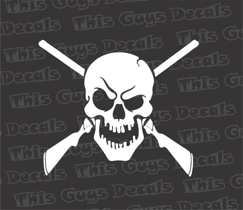 skull with shot guns decal