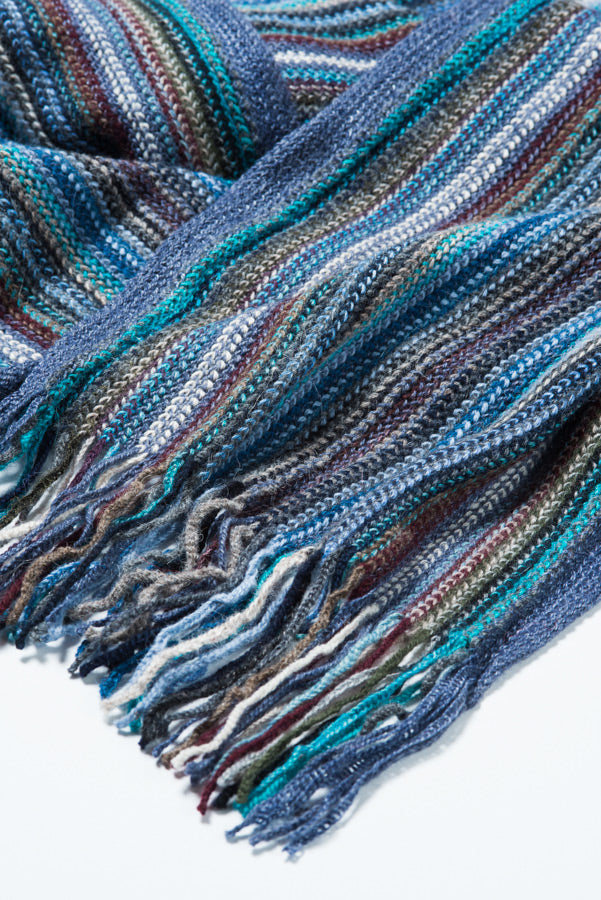 Blue Striped Alpaca Scarf