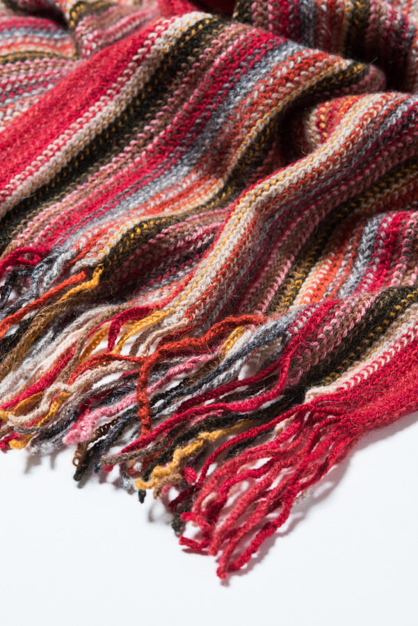 Red Striped Alpaca Scarf