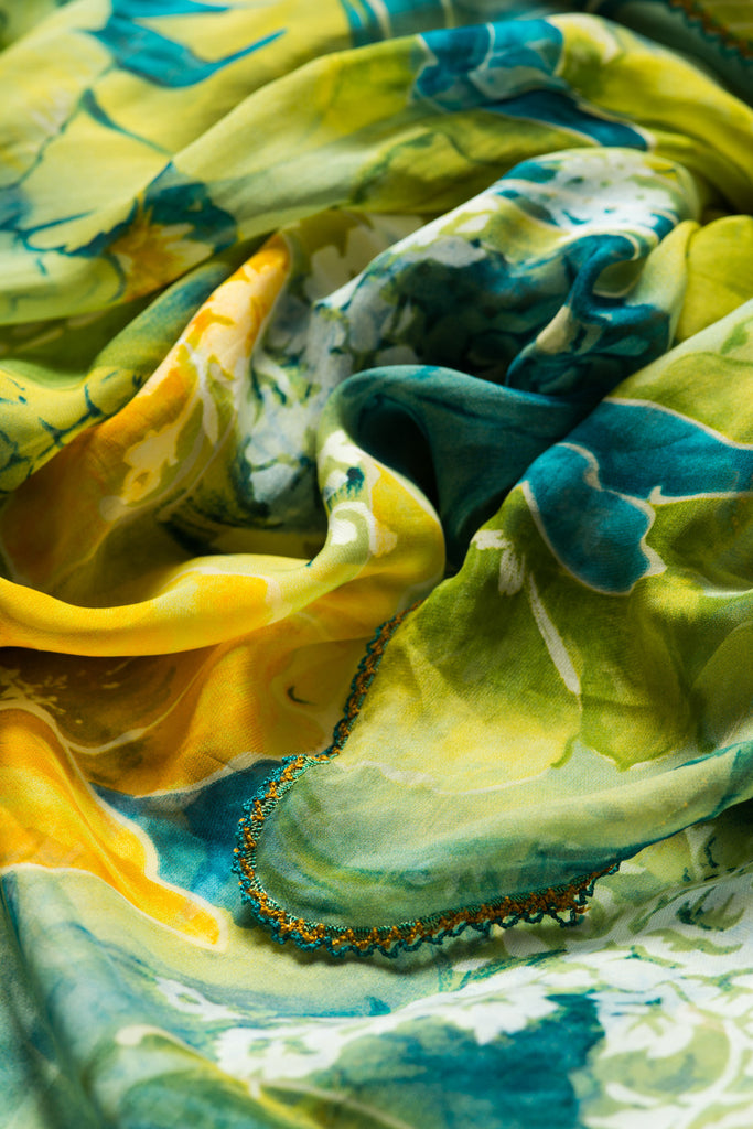 green-yellow-silk-scarf