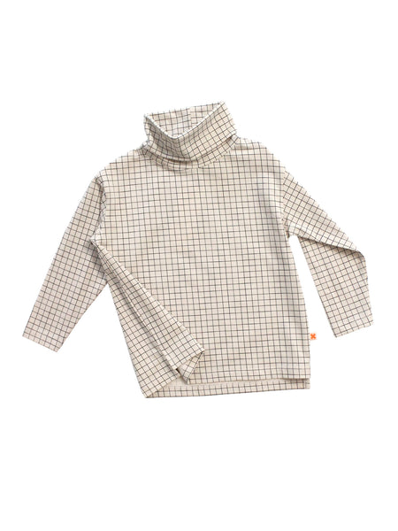 Medium Grid Cream Turtleneck Tee