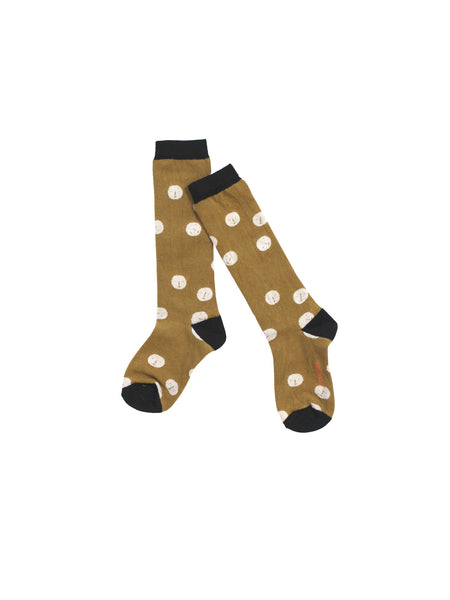Faces high socks in gold