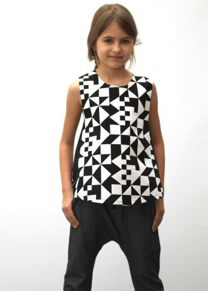 Angle Blouse in Tangram Print