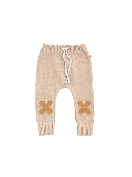 Knit Logo Pant in Peach