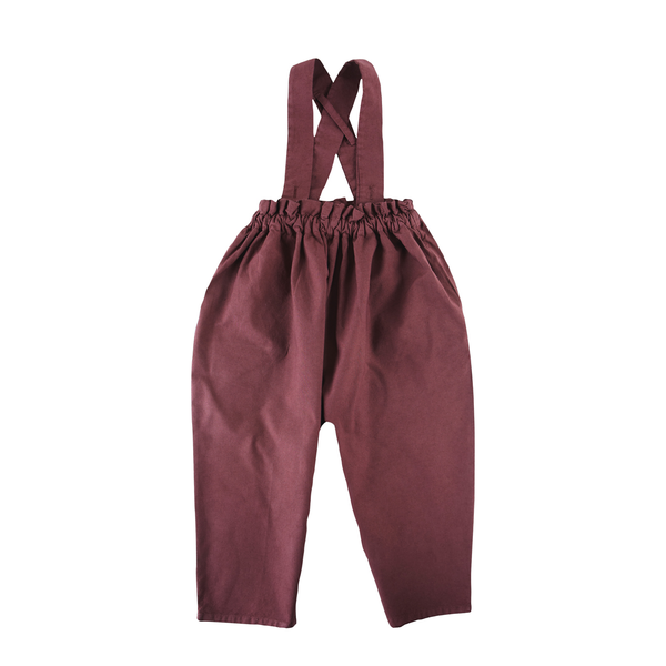 Pants with Suspenders in Maroon