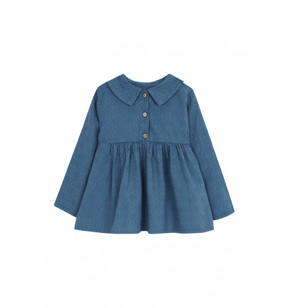 Button Collar Blouse in Indigo