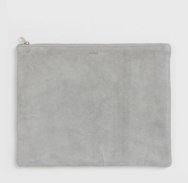 Large Flat Pouch in Grey Suede