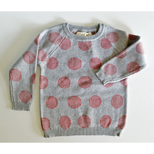 Pinstripe Dot Sweater in Grey/Brick