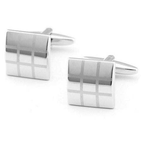 Three By Three Mirror Grid Cuff Links
