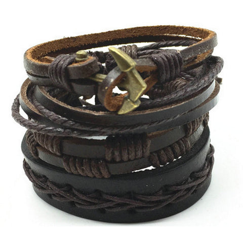 Anchor of the Unique, Leather Bracelet Stack