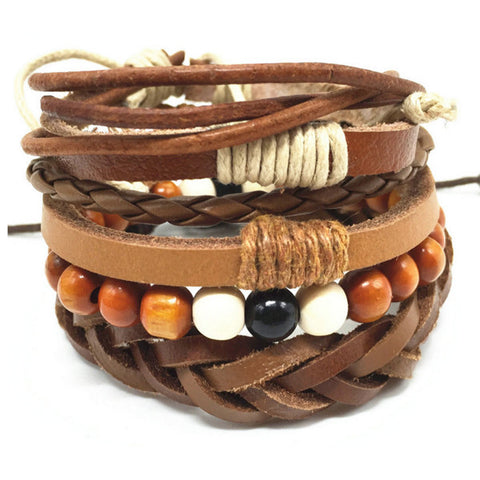 Talk of the Beads, Leather Bracelet Stack