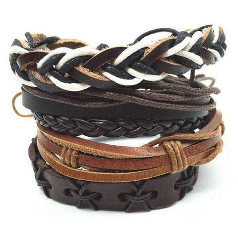 Blessed Braid, Leather Bracelet Stack