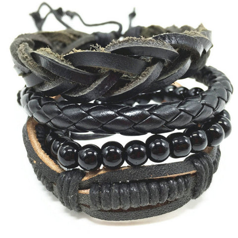 Bead of the Braid Highlight, Leather Bracelet Stack