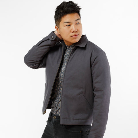 Meg Mechanic Jacket in Slate Gray with Purple Lining