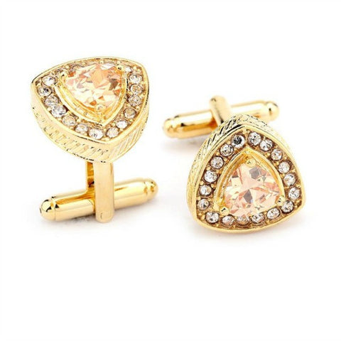Rhinestone Triangle in Gold, Cuff Links