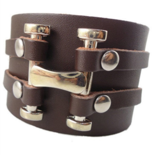 Rivets and Pins Wide Leather Cuff