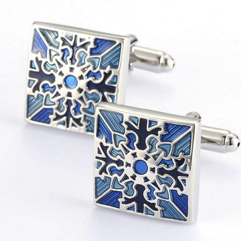 Blue Direction Square Patterned Cuff Links