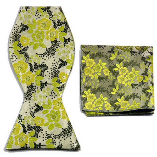 Lime Past Lullaby, Bow Tie and Pocket Square Set