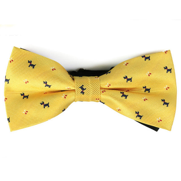 Scottie on Yellow Pre-tied Bow Tie