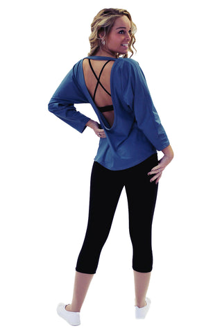 Blue Crop Sleeve Low Back Top