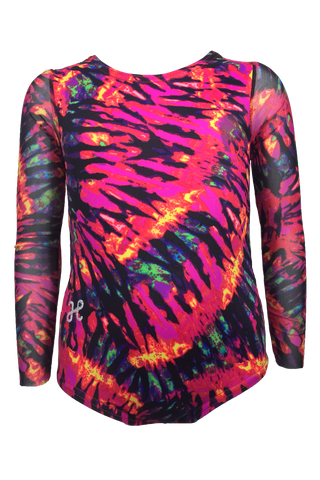 Red Tie Dye Mesh Long Sleeve Leotard