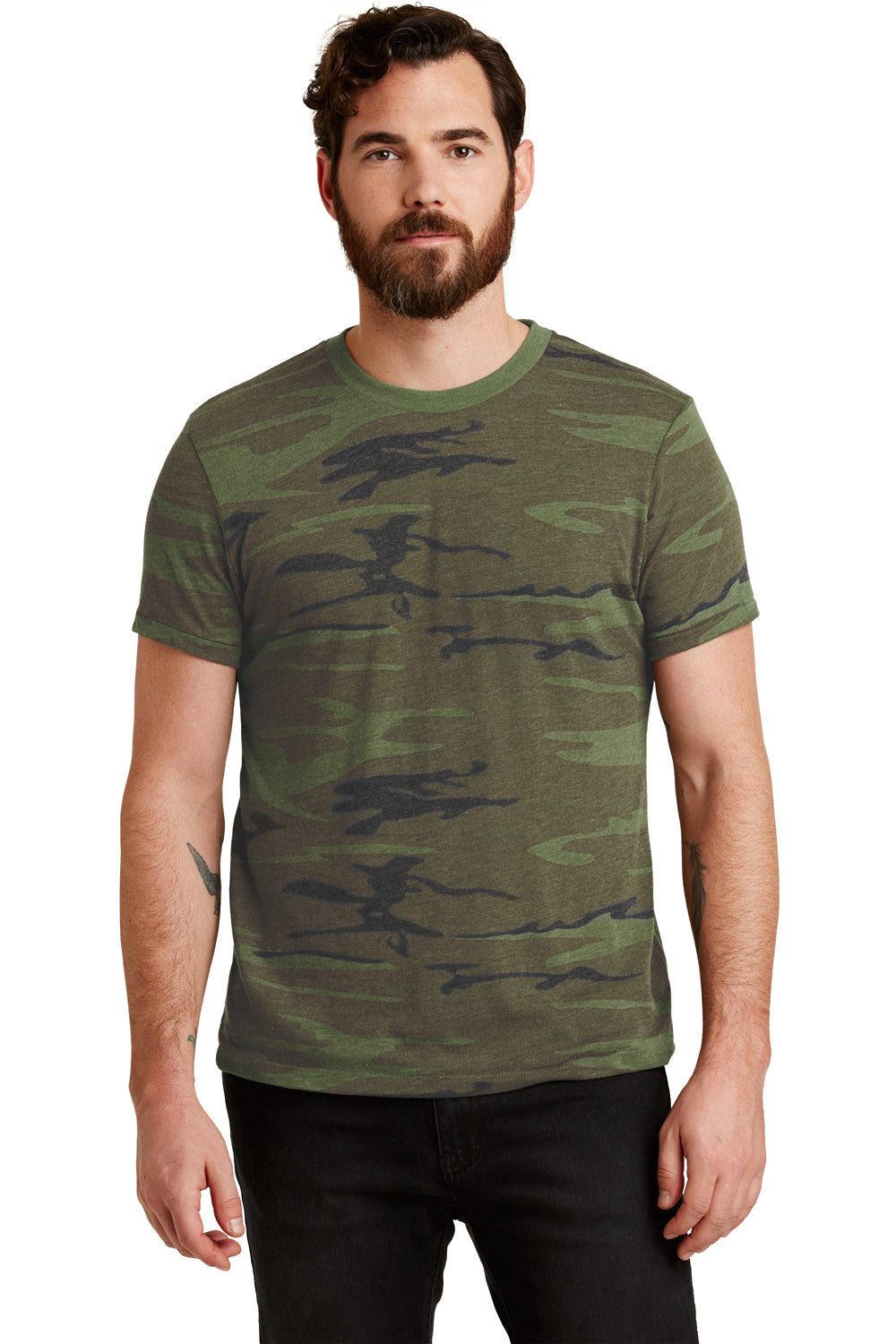 Alternative 01973EA Mens Printed Eco Jersey Short Sleeve Crewneck T-Shirt Camo Front