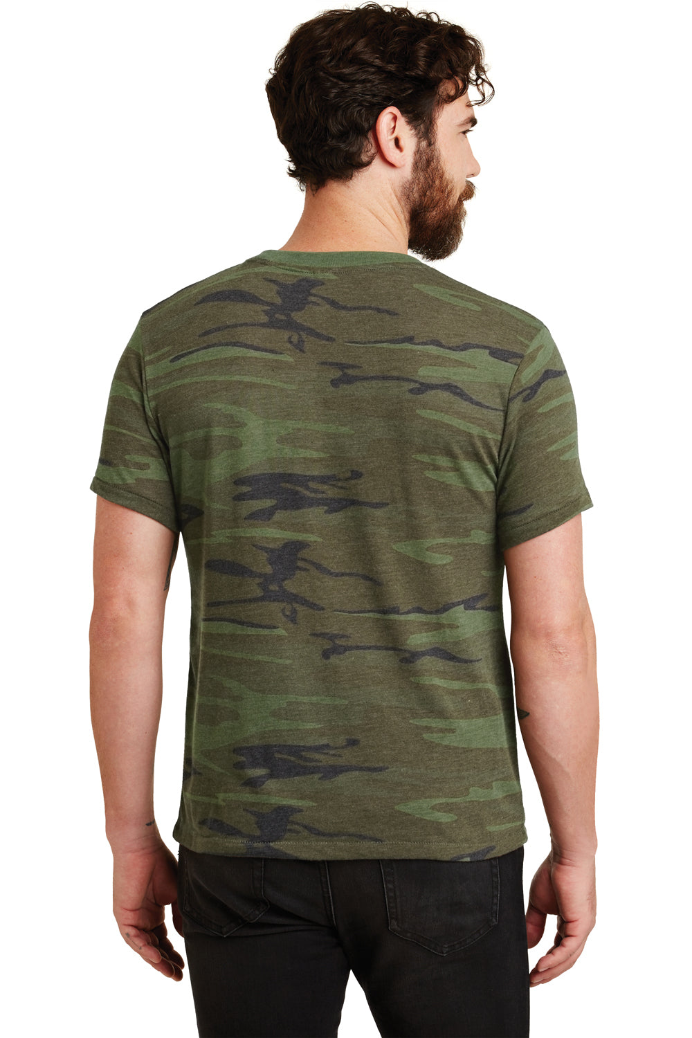 Alternative 01973EA Mens Printed Eco Jersey Short Sleeve Crewneck T-Shirt Camo Back