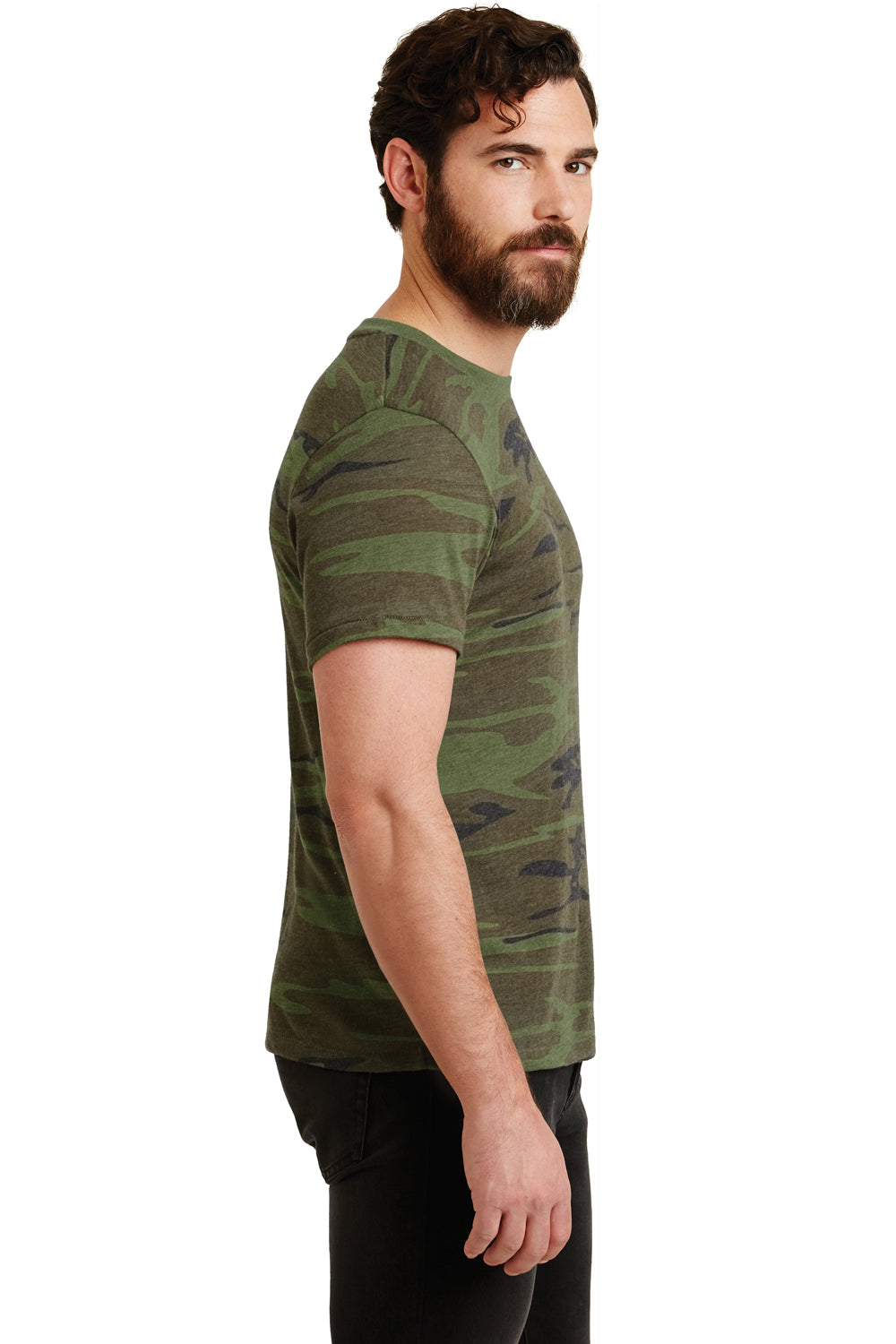 Alternative 01973EA Mens Printed Eco Jersey Short Sleeve Crewneck T-Shirt Camo Side