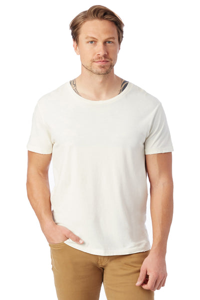 Alternative 04850C1 Mens Heritage Distressed Short Sleeve Crewneck T-Shirt White Front