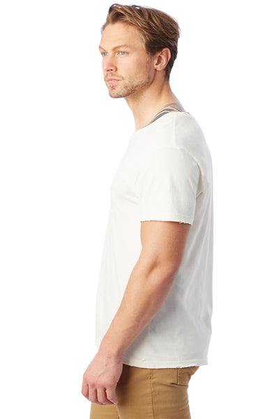 Alternative 04850C1 Mens Heritage Distressed Short Sleeve Crewneck T-Shirt White Side