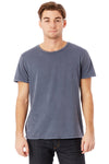 Alternative 04850C1 Mens Heritage Distressed Short Sleeve Crewneck T-Shirt Dark Blue Front
