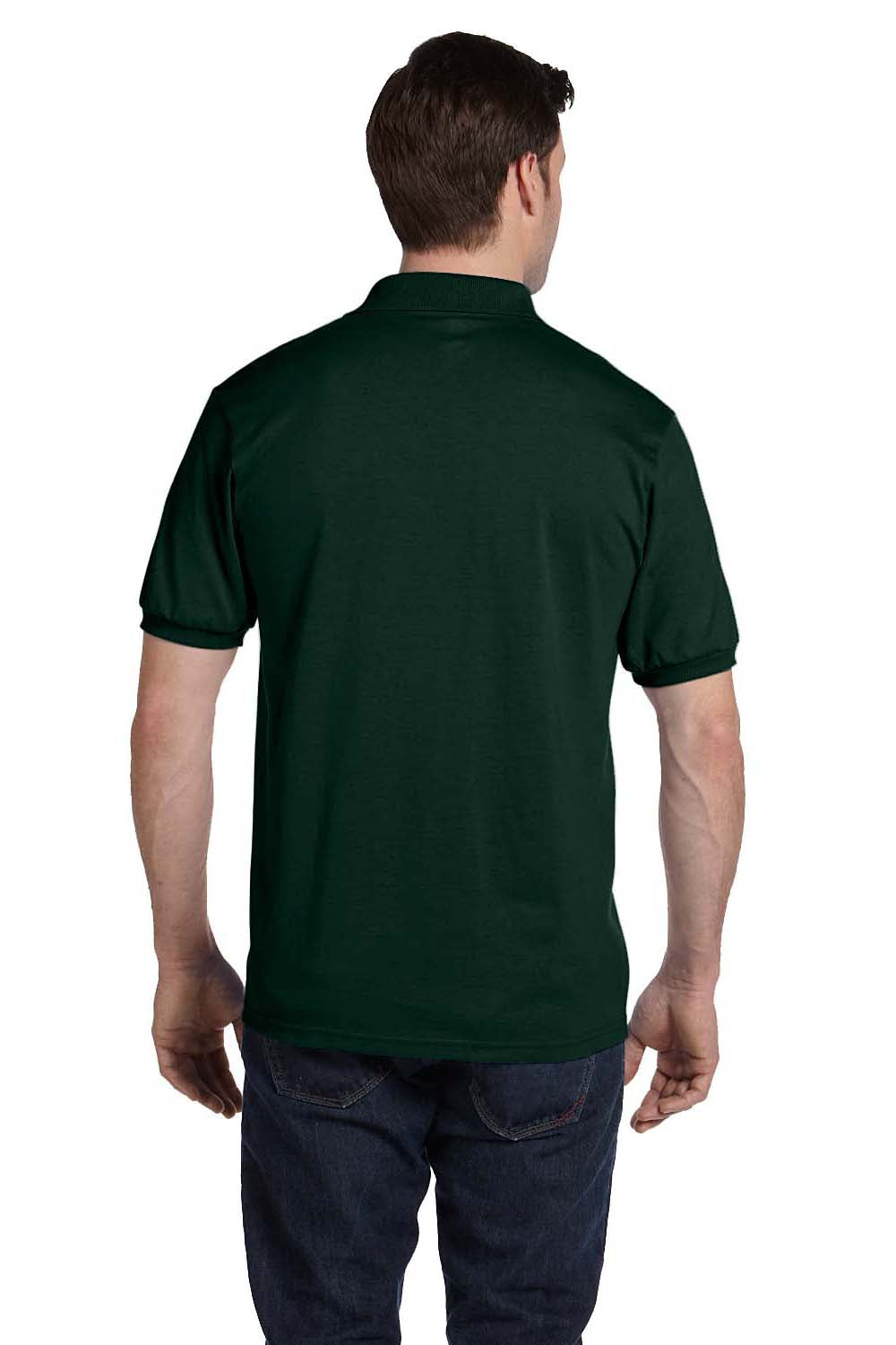 Hanes 054 Mens EcoSmart Short Sleeve Polo Shirt Forest Green Back