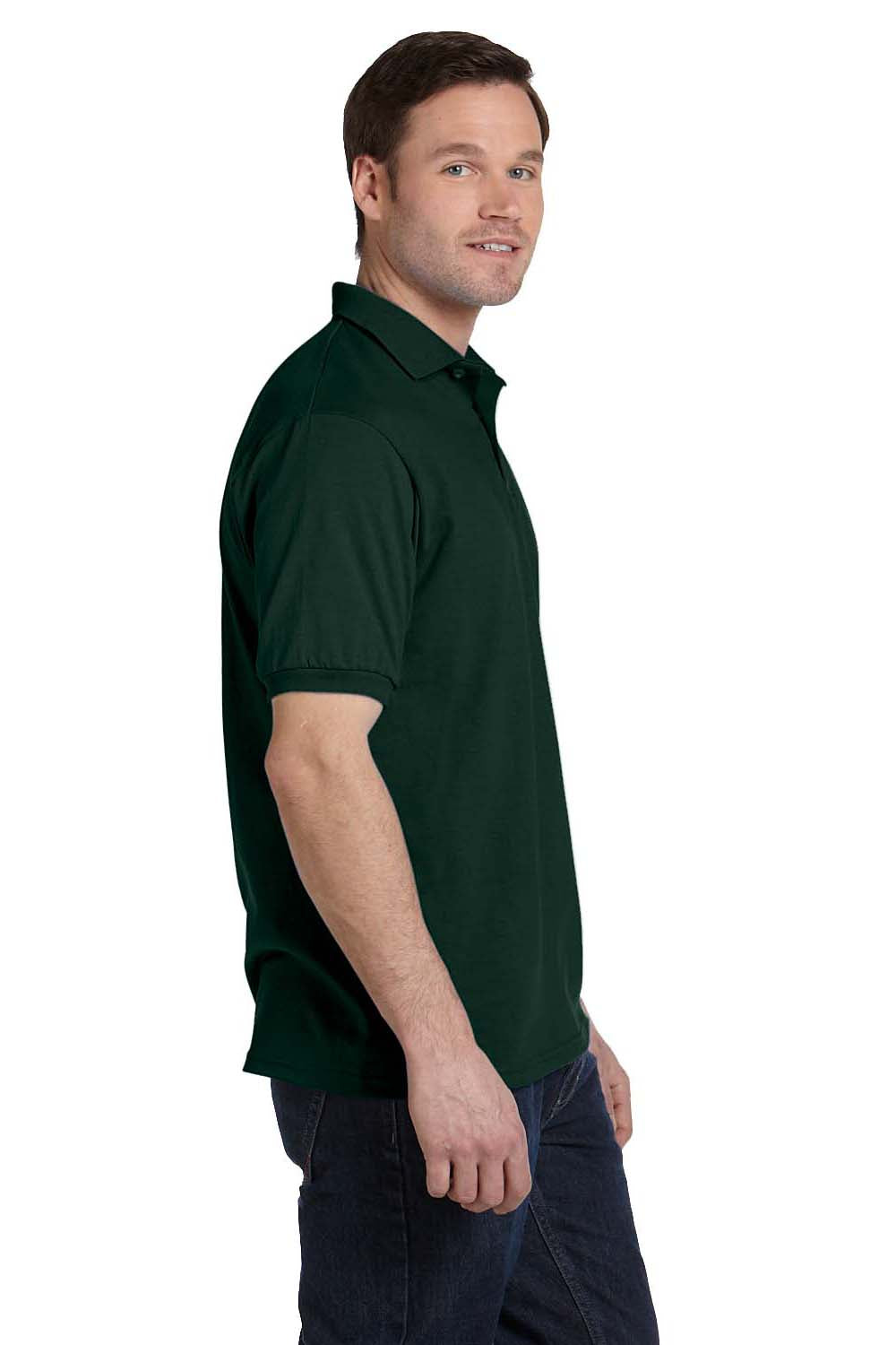 Hanes 054 Mens EcoSmart Short Sleeve Polo Shirt Forest Green Side