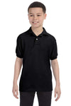 Hanes 054Y Youth EcoSmart Short Sleeve Polo Shirt Black Front