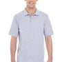 Hanes Mens X-Temp Fresh IQ Moisture Wicking Short Sleeve Polo Shirt - Light Steel Grey