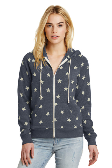 Alternative 09573F2 Womens Adrian Eco Fleece Full Zip Hooded Sweatshirt Hoodie Stars Front