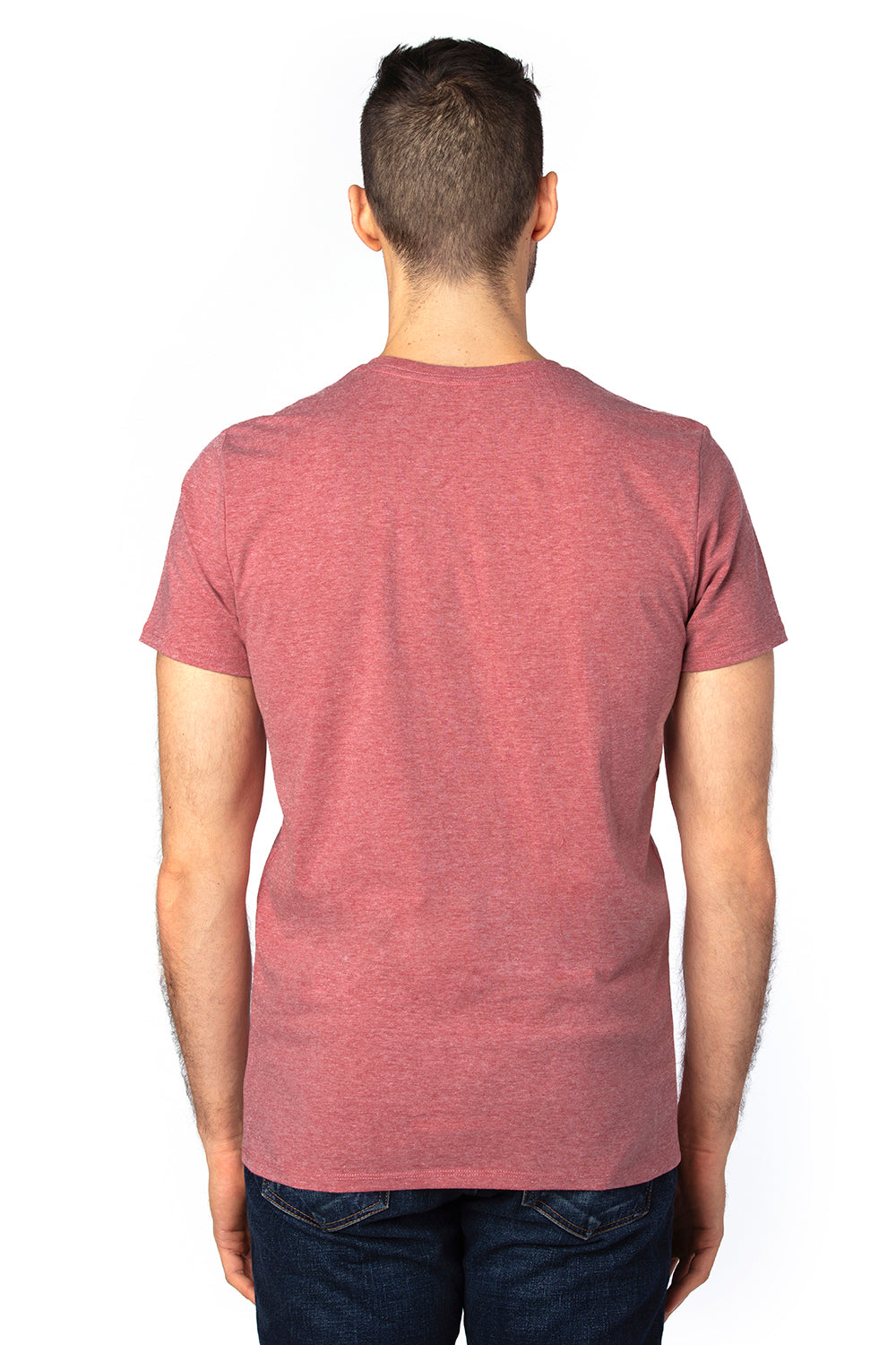 Threadfast Apparel 100A Mens Ultimate Short Sleeve Crewneck T-Shirt Heather Maroon Back