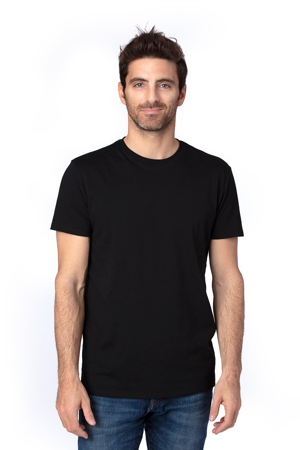 Threadfast Apparel 100A Mens Ultimate Short Sleeve Crewneck T-Shirt Black Front
