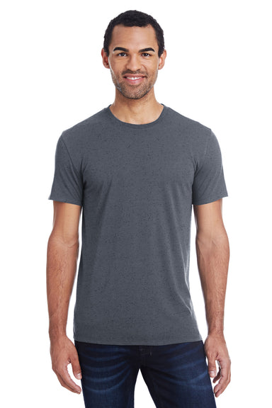 Threadfast Apparel 103A Mens Fleck Short Sleeve Crewneck T-Shirt Charcoal Grey Front