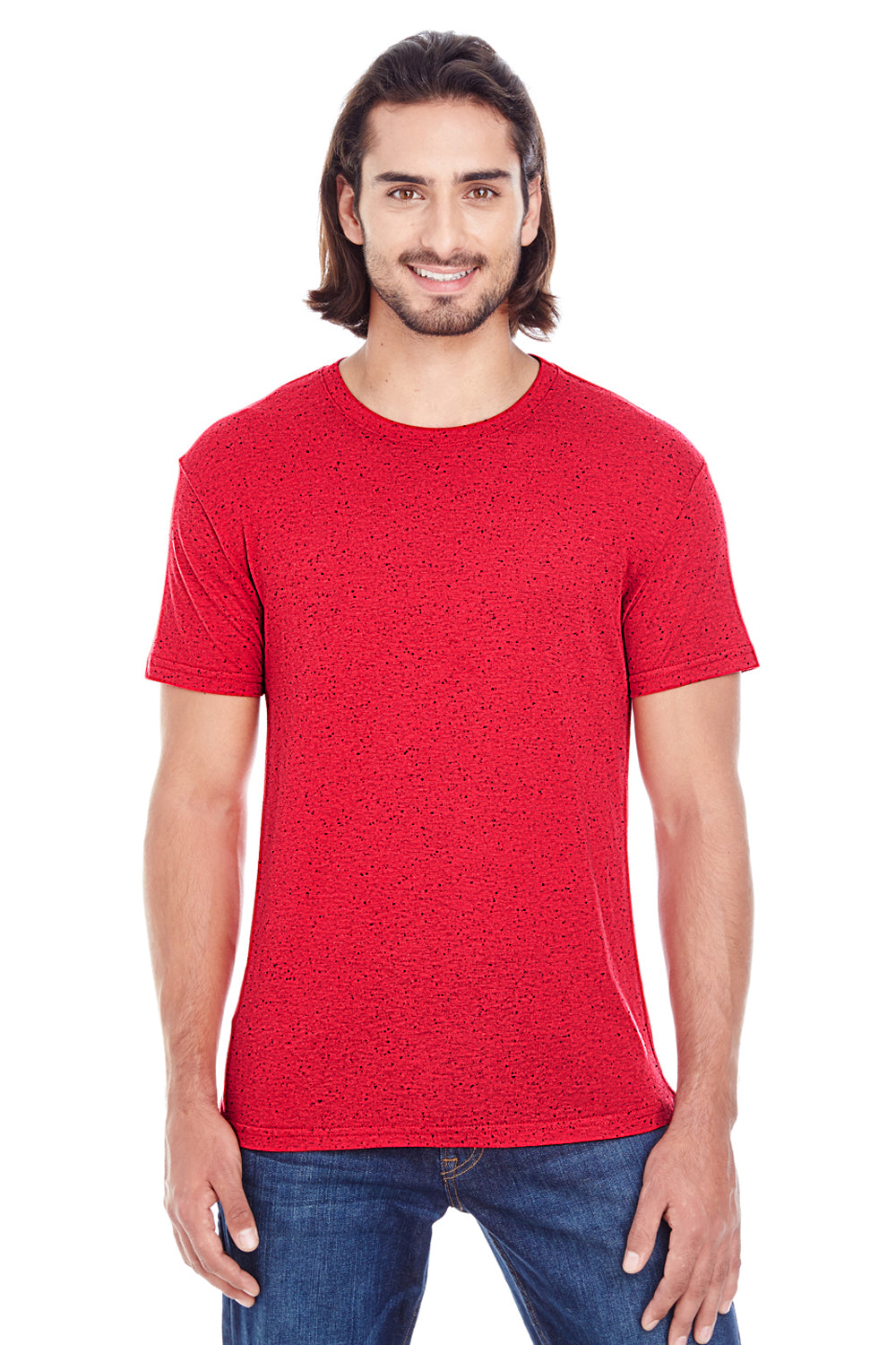 Threadfast Apparel 103A Mens Fleck Short Sleeve Crewneck T-Shirt Red Front