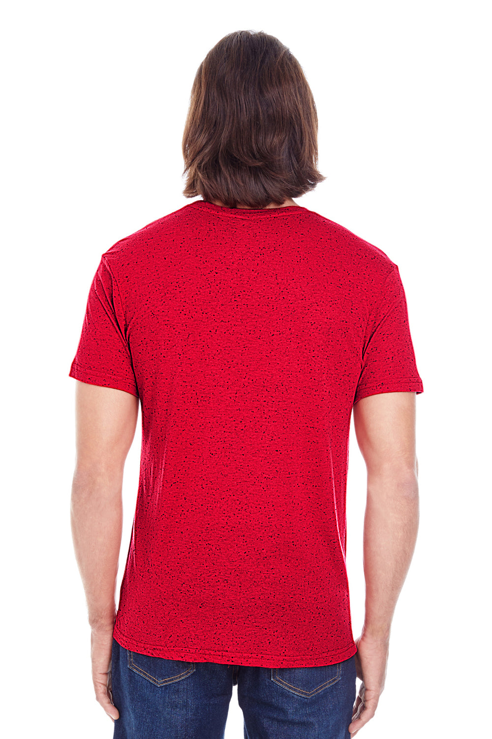 Threadfast Apparel 103A Mens Fleck Short Sleeve Crewneck T-Shirt Red Back