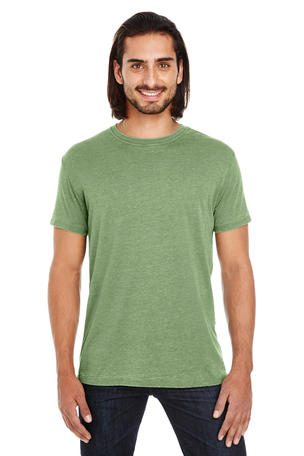 Threadfast Apparel 108A Mens Vintage Dye Short Sleeve Crewneck T-Shirt Grass Green Front