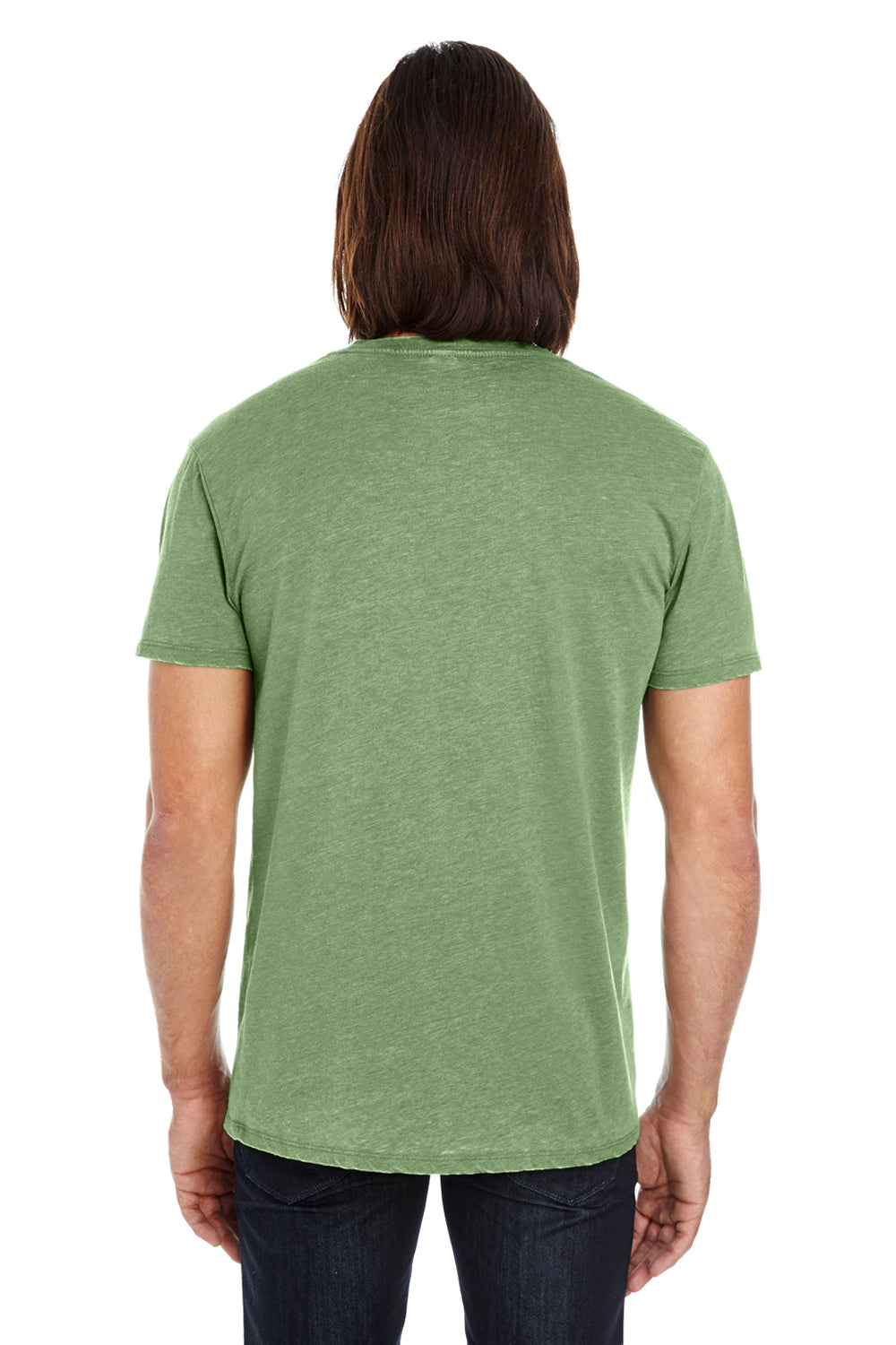 Threadfast Apparel 108A Mens Vintage Dye Short Sleeve Crewneck T-Shirt Grass Green Back