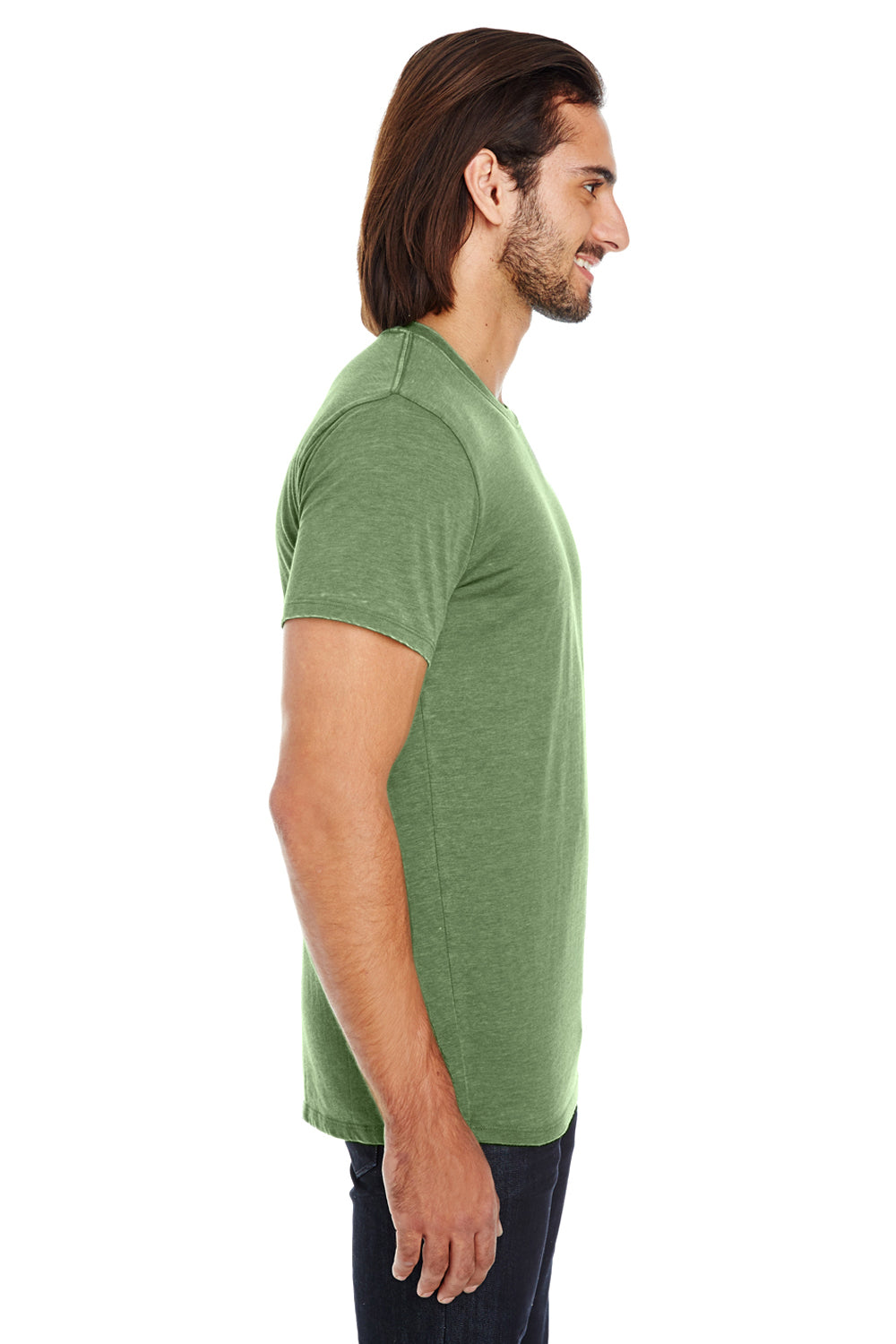 Threadfast Apparel 108A Mens Vintage Dye Short Sleeve Crewneck T-Shirt Grass Green Side