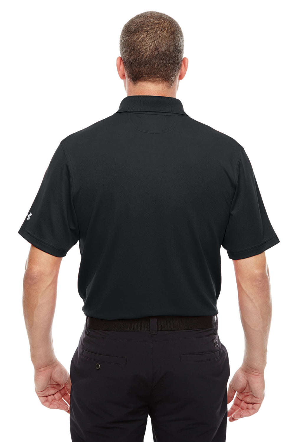 Under Armour 1261172 Mens Corp Performance Snag Resistant Short Sleeve Polo Shirt Black Back